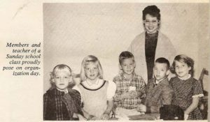 """Sunday school members and their teacher on """"Organization Day"""", March 1961."""